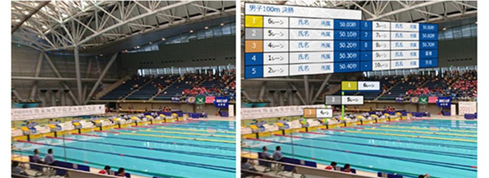テレビ朝日・NEC・ドコモ、水泳競技情報をスマートグラスにリアルタイム表示